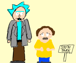 Rick & Morty in South Park art style