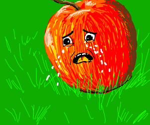 sad crying apple (emotional)