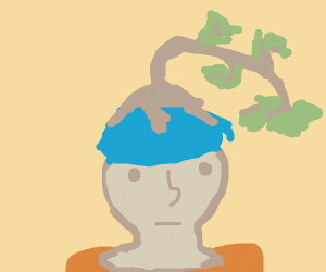 blue haired person with tree on head