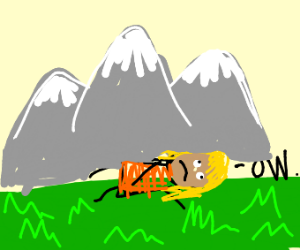 Girl getting crushed by mountain