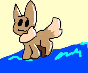 Eevee walking on water