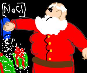 balding santa pours salt in presents