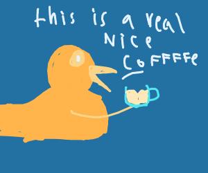 A Duck Having A Nice Coffee