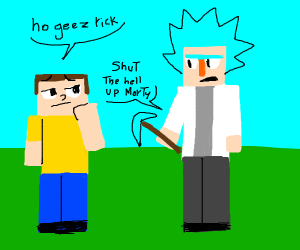 "A blocky guy saying ""oh jeez rick"" to another"