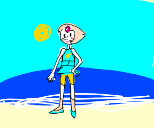 Pearl (Steven Universe) on a beach