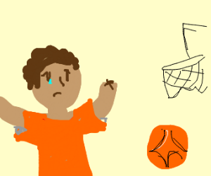 black toddler with no hands and a basketball