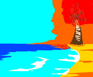 A tree on fire by the shore