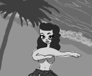 Hula dancer by beach