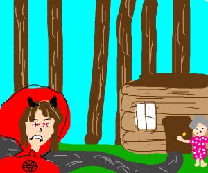 Satanic Red Riding Hood Off To See Grandma.