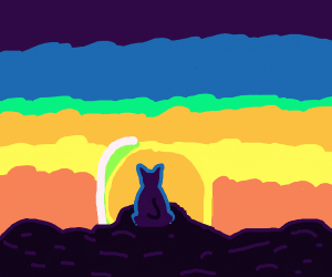 Cat on an island watching the sunset