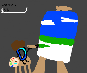 Draw D disguised as Bob Ross