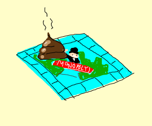 Piece of poop on monopoly board