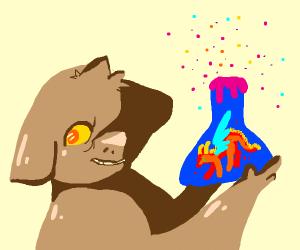 Dog creates a dragon in a potion