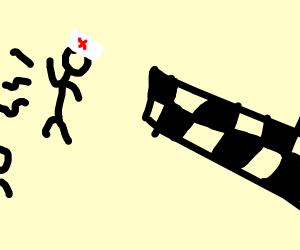 A nurse running in a race