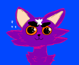 Purple cat with star on forehead