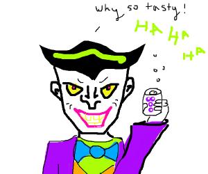 The Joker holding grape coke