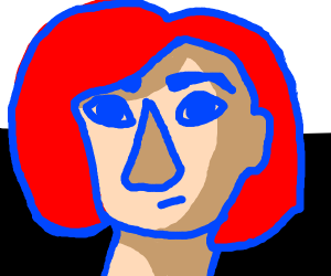 Girl with chin length red hair and blue eyes