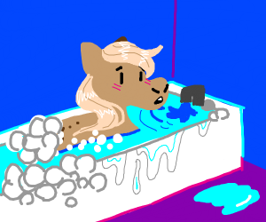 embarassed pony discovered in bubble bath