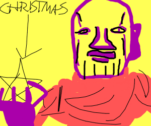 dressy thanos holds the star of Christmas