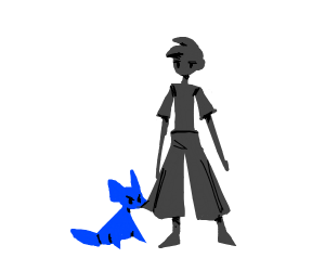 Blue dog Vs some guy