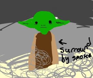 Yoda Surrounded By Smoke