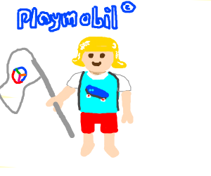 playmobil girl w/skater tshirt & peace flag