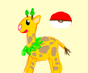 Giraffe Pokemon w/ leaf for horn and necklace