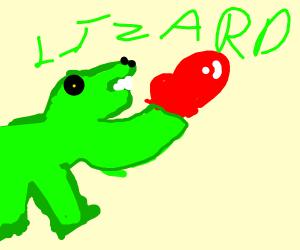 Lizard wants to fight