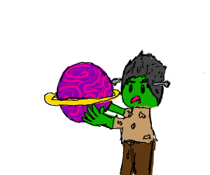 Frankenstein carrying a Planet