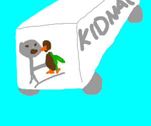 Troll is kidnappen and eats a brown duck