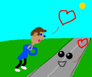 Road and man in love