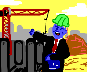 Blue Donald Trump doing construction