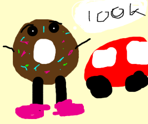 Chocolate donut  showing off its car