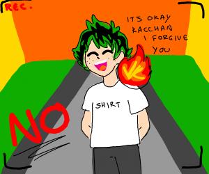 bakugo sets deku on fire and records it