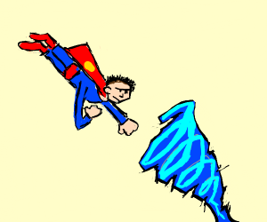 Superman flies into a swirling vortex