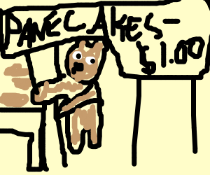 Dog/bear steals pancakes from table