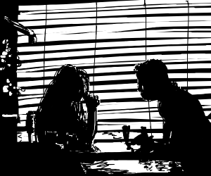 Silhouette of a couple at a diner