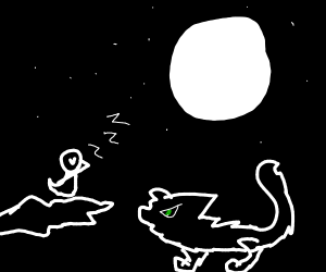 black cat hunts sleeping crow