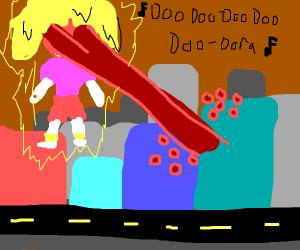 Giant dora destroys city with eye beam
