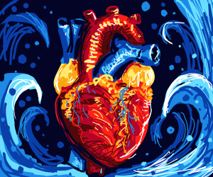 A Still-Beating Disembodied heart in the sea