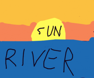 sunset with river