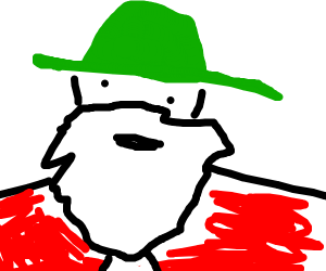 Santa with a green hat