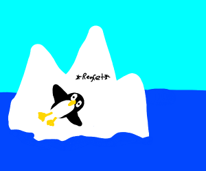 a penguin just laying there regretting life