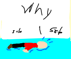 Bald person laying in puddle (their tears?)