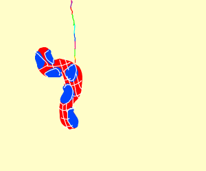 Spider worm with rainbow string