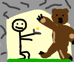 Guy proposes to a bear hidden in a cave