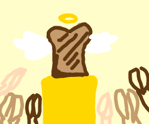 Holy toast on a pedestool being worshipped