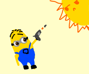 minion shooting towards the sun