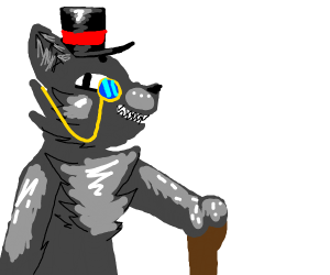 Fancy werewolf w/glasses and a hat