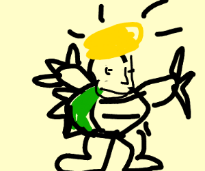 yellow haired dude in a bowser costume